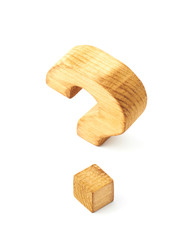 Wooden question mark isolated