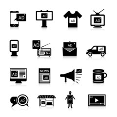 Advertising Icons Black