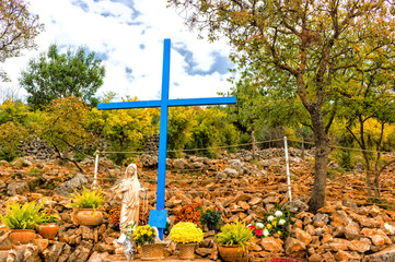 Blue Cross at Apparition Mountain in Medjugorje