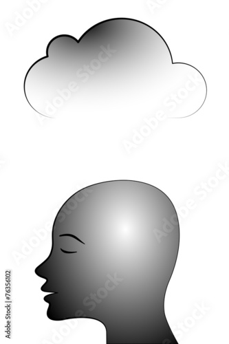 canvas print picture black head with data cloud #2