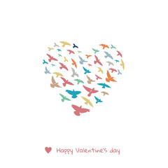 Valentines day greeting card - doves heart