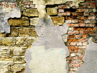 Background image with grunge brick old wall and plaster