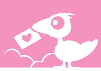 Bird Love Letter Vector Illustration