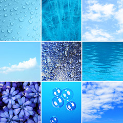 Blue color samples collage