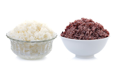 cooked rice and riceberry isolate one white