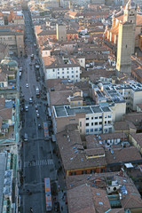 city of Bologna from the Asinelli Tower in Italy
