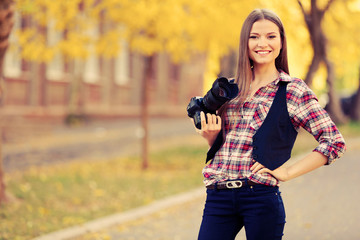 Young photographer outdoors