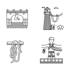 Black outline icons for rope jumping