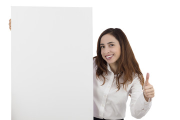 Business woman giving thumbs up and showing a blank poster