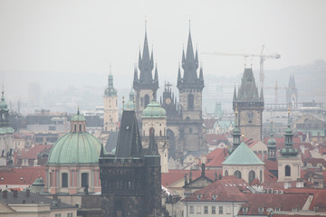 Tyn Church and the Old Town Hall in Prague, Czech Republic.