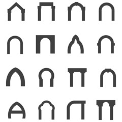 Black monolith icons for archway