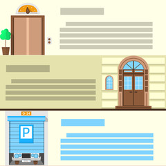 Flat color icons set for entrance