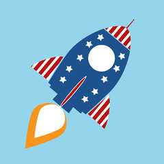 Retro Rocket With USA Flag Concept