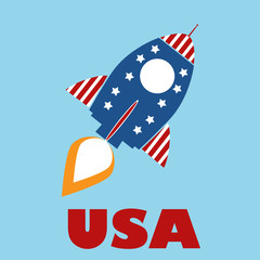 Retro Rocket With USA Flag Concept With Text