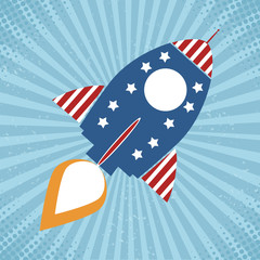 Vintage Retro Rocket With USA Flag Concept