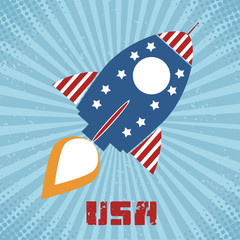 Vintage Retro Rocket With USA Flag Concept  With Text