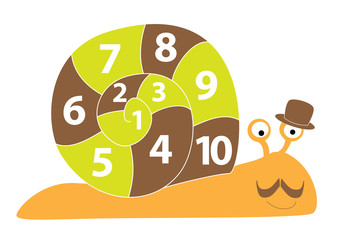 math snail on white background - vectors for kids