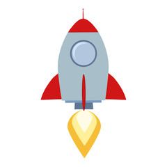 Rocket Start Up Concept Flat Style Isolated On White