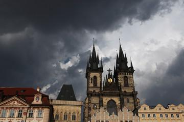 Tyn Church in Old Town Square in Prague, Czech Republic.