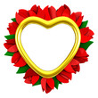 Golden empty heart frame with red flowers around, 3d