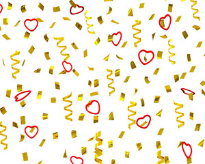 Golden confetti  Valentine's day party streamers, 3d
