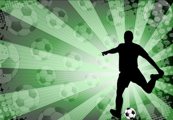 soccer player on the abstract  background - vector