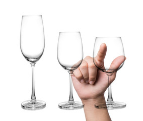 Hand pointing Empty glass