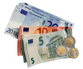 Euro - Euroscheine mit Kleingeld