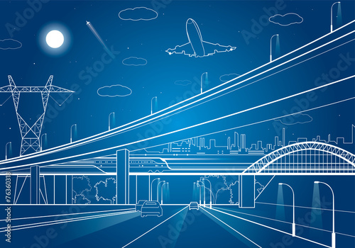 Car overpass, infrastructure, urban plot, plane takes off - 76360318