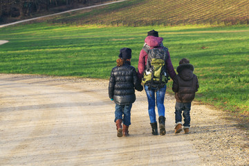Family on a Nature hike, countryside