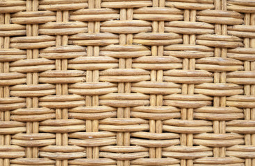 Old wicker furniture wall. Closeup background texture