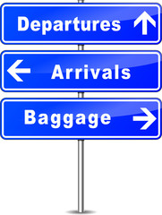 blue airport signs