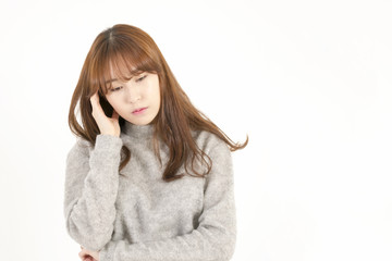 Stressed asian businesswoman