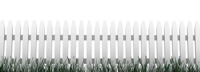 3d: Fence with Grass and White Background