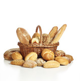 Einkaufskorb mit Brot gefüllt