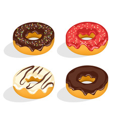 Four donuts with glazed isolated on white background