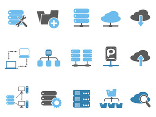 web host icons set, blue series
