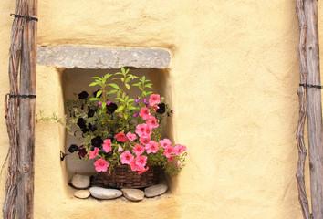Flowerpot with petunias