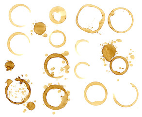 Set of stains of coffee