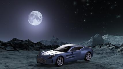 Sportwagen in futuristischer Landschaft bei Mondlicht.