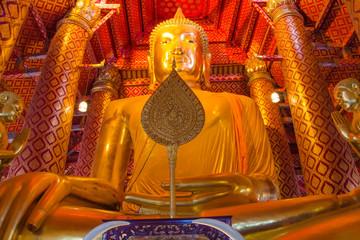 Big golden Buddha statue in temple at Wat Panan Choeng