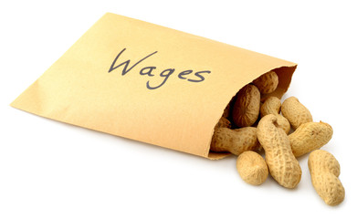 Peanuts falling out of an envelope marked wage