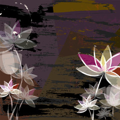 abstract composition with flowers, free copy space  vector