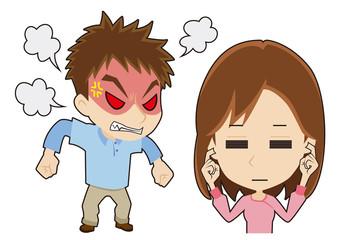 怒る男性に耳を塞ぐ女性