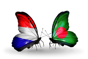 Two butterflies with flags Holland and Bangladesh
