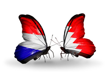 Two butterflies with flags Holland and Bahrain
