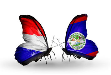 Two butterflies with flags Holland and Belize