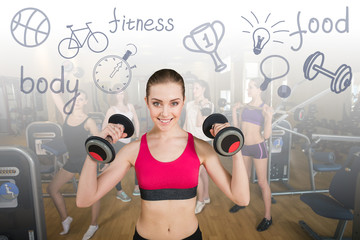 Smiling trainer in front of group
