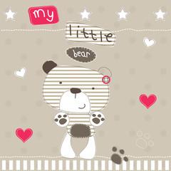 cute little bear polka dot background vector illustration