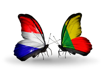 Two butterflies with flags Holland and Benin